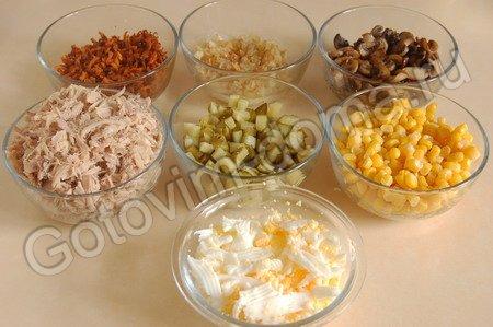 рецепты салата с курицей и грибами огурцом